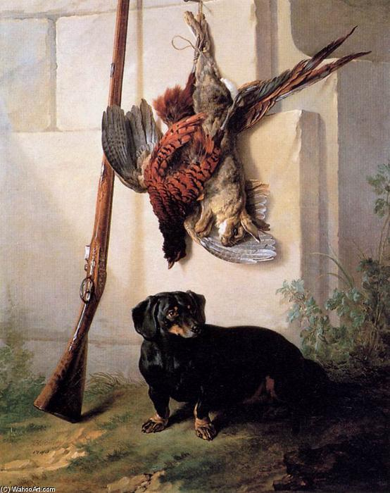 Hound with Gun and Dead Game, 1740 by Jean-Baptiste Oudry (1686-1755, France) | Art Reproductions Jean-Baptiste Oudry | WahooArt.com