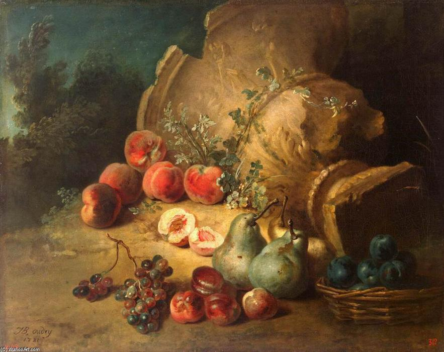 Still-Life with Fruit, 1721 by Jean-Baptiste Oudry (1686-1755, France) | Painting Copy | WahooArt.com