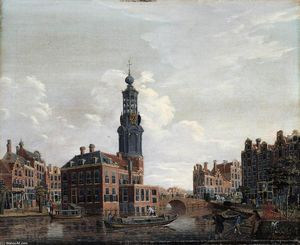 Isaak Ouwater - View of the Singel with the Munttoren in Amsterdam
