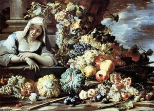 Order Art Reproductions | Still-Life with a Female Figure by Michele Pace Del Campidoglio (1610-1670, Italy) | WahooArt.com