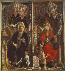 Michael Pacher - Altarpiece of the Church Fathers: St Augustine and St Gregory