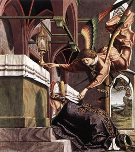 Michael Pacher - Altarpiece of the Church Fathers: Vision of St Sigisbert