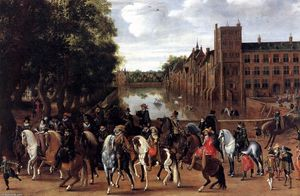 Hendrick Ambrosius Packx - The Princes of Orange and Their Families Riding Out from the Buitenhof
