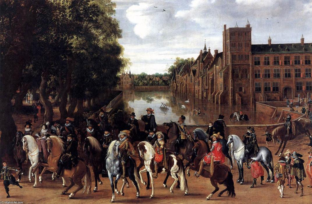 Order Museum Quality Copies | The Princes of Orange and Their Families Riding Out from the Buitenhof, 1623 by Hendrick Ambrosius Packx (1603-1658, Netherlands) | WahooArt.com