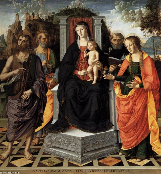 Madonna and Child with Saints, Oil On Panel by Marco Palmezzano (1460-1539, Italy)