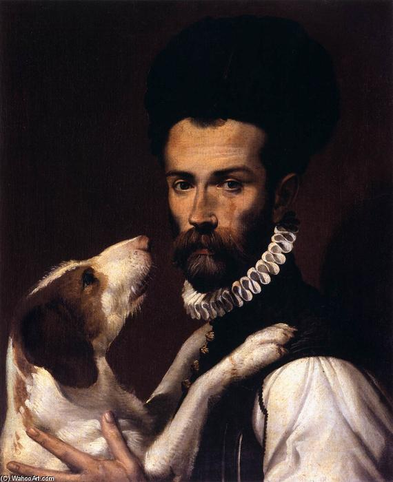Portrait of a Man with a Dog, 1585 by Bartolomeo Passarotti (1529-1592) | Museum Quality Reproductions | WahooArt.com