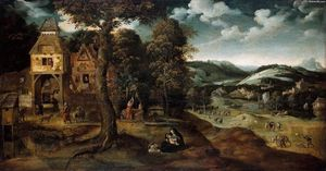 Joachim Patenier - Landscape with the Flight into Egypt