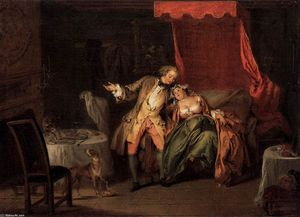 Jean-Baptiste Pater - Mme. de Bouvillon Tempts Fate by Asking Ragotin to Search for a Flea