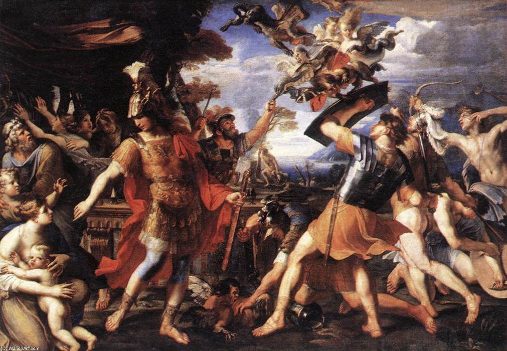 Buy Museum Art Reproductions | Aeneas and his Companions Fighting the Harpies, 1646 by François Perrier (1594-1649, France) | WahooArt.com