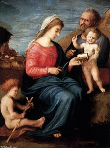 Piero Di Cosimo (Piero Di Lorenzo) - Holy Family with the Young St John the Baptist