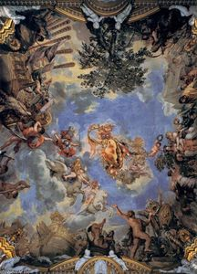 Order Oil Painting : Ceiling fresco with Medici coat-of-arms, 1643 by Pietro Da Cortona (1596-1669, Italy) | WahooArt.com