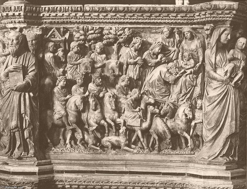 Adoration of the Magi, relief from the pulpit, 1265 by Nicola Pisano (1230-1284, Italy) | WahooArt.com
