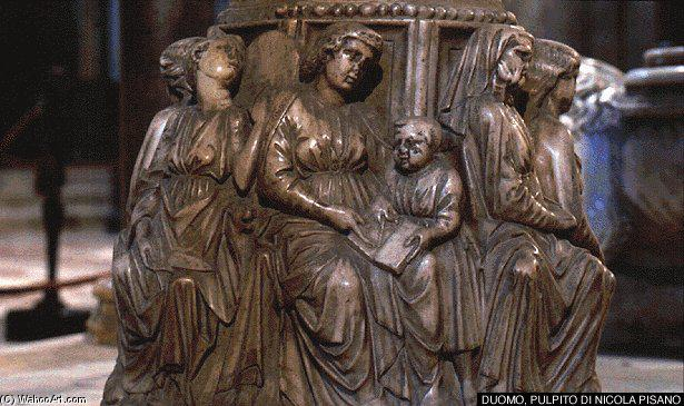 Pulpit (detail), Marble by Nicola Pisano (1230-1284, Italy)