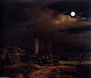 Egbert Van Der Poel - Seashore by Moonlight