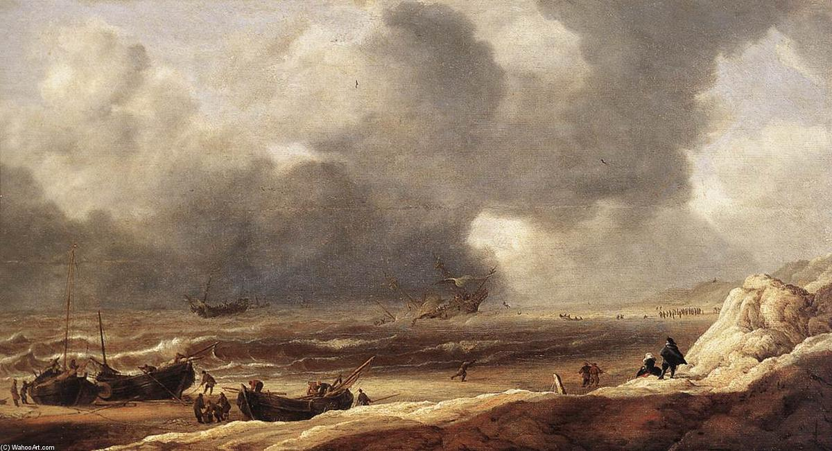 Shipwreck on a Beach, Oil On Panel by Jan Porcellis (1583-1632, Belgium)