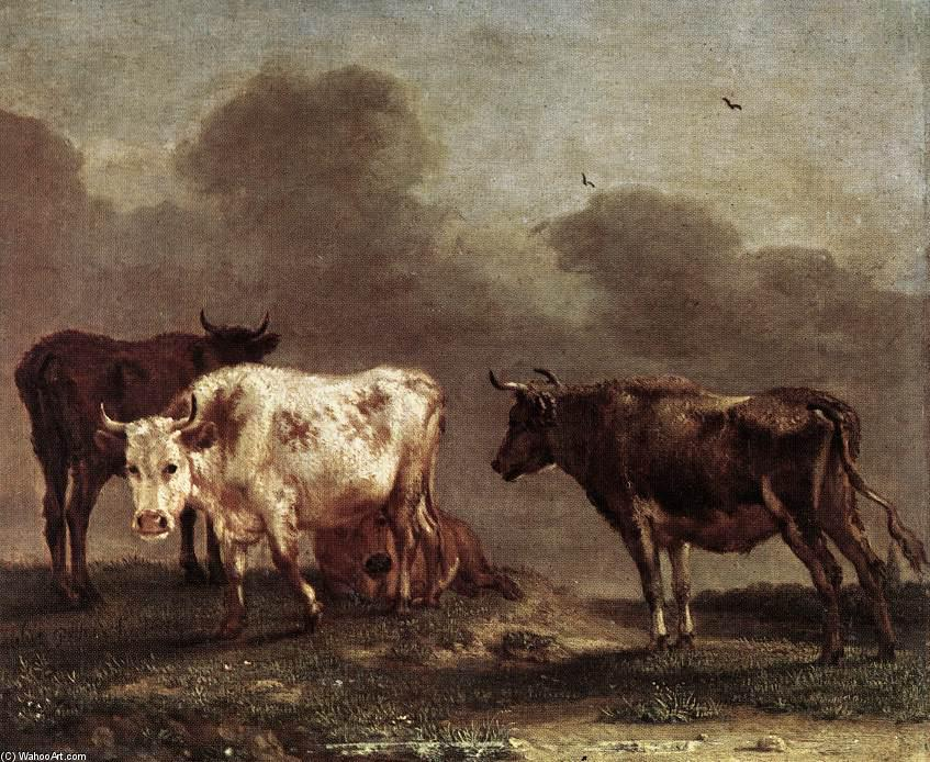Cows in a Meadow, Oil On Canvas by Paulus Potter (1625-1654, Netherlands)