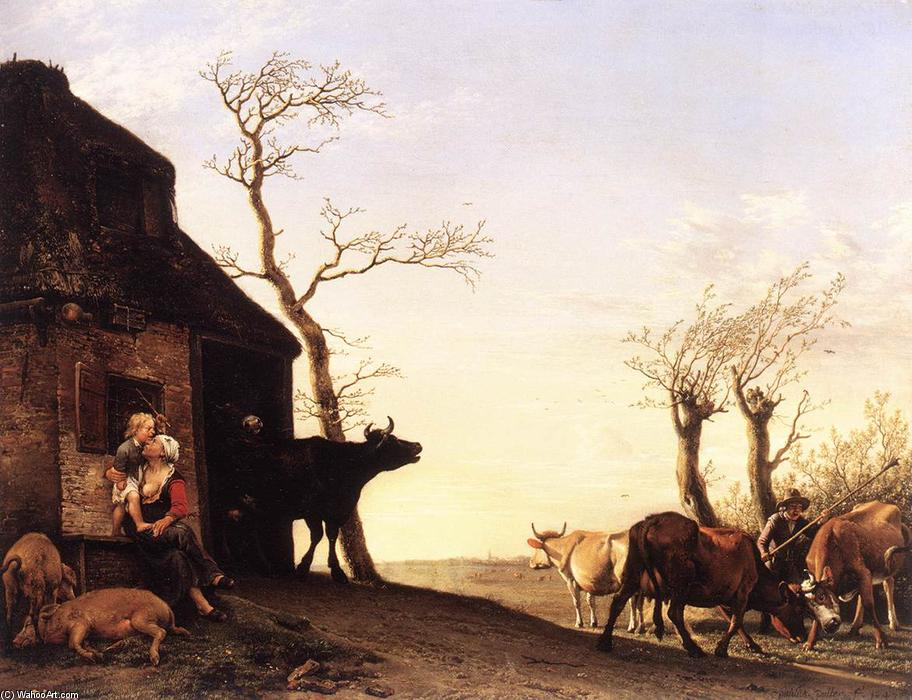 Driving the Cattle to Pasture in the Morning, Oil by Paulus Potter (1625-1654, Netherlands)
