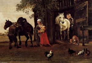 Paulus Potter - Figures with Horses by a Stable (detail)