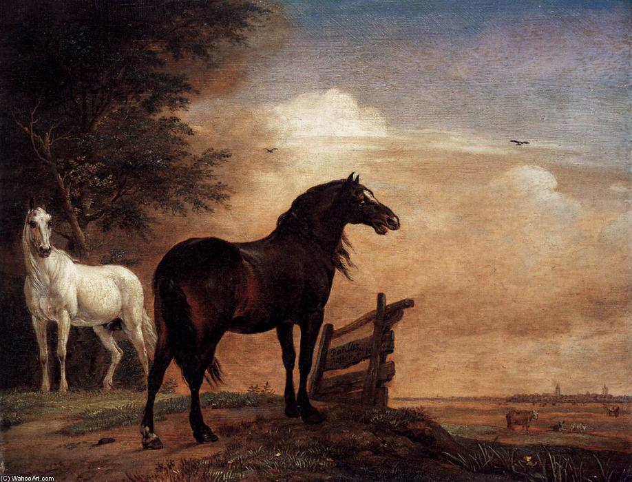 Horses in a Field, Oil On Panel by Paulus Potter (1625-1654, Netherlands)