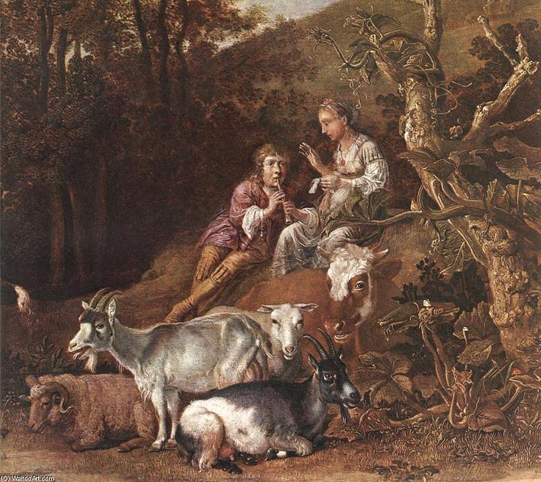 Landscape with Shepherdess and Shepherd Playing Flute (detail), Oil by Paulus Potter (1625-1654, Netherlands)