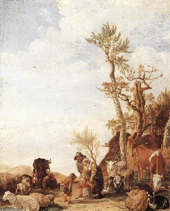 Peasant Family with Animals, Oil by Paulus Potter (1625-1654, Netherlands)
