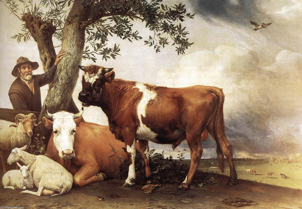 Young Bull, Oil On Canvas by Paulus Potter (1625-1654, Netherlands)