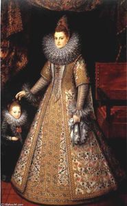 Frans The Younger Pourbus - Portrait of Isabella Clara Eugenia of Austria with her Dwarf