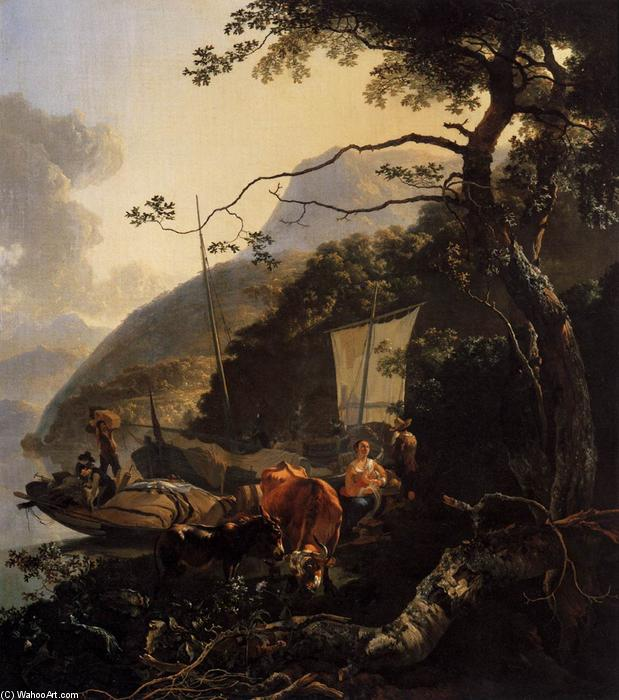 Boatmen Moored on the Shore of an Italian Lake, 1668 by Adam Pynacker (1622-1673, Netherlands) | Oil Painting | WahooArt.com