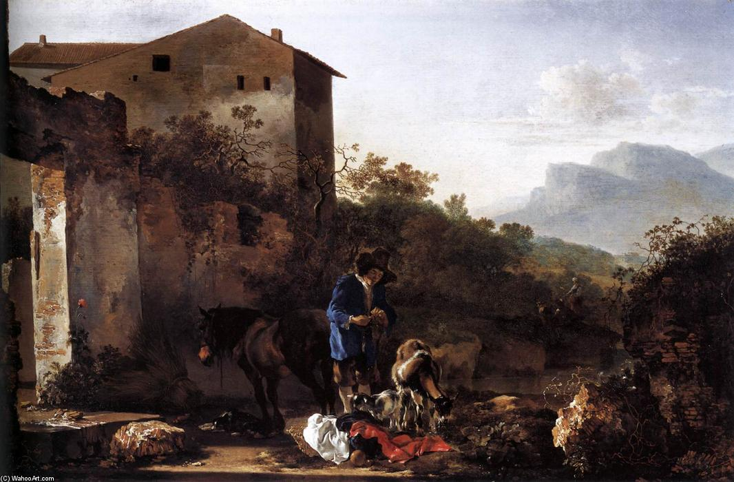 Landscape with a Goatherd, 1650 by Adam Pynacker (1622-1673, Netherlands) | Famous Paintings Reproductions | WahooArt.com