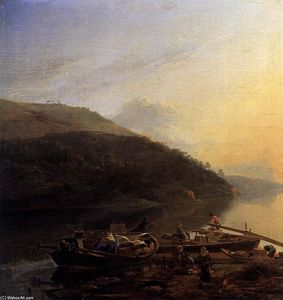 Adam Pynacker - River Scene with Loaded Barges