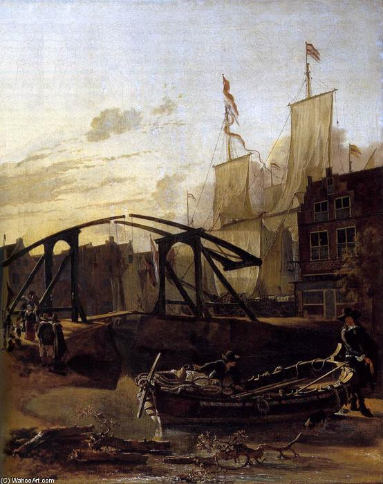 View of a Harbour in Schiedam, 1650 by Adam Pynacker (1622-1673, Netherlands) | Famous Paintings Reproductions | WahooArt.com