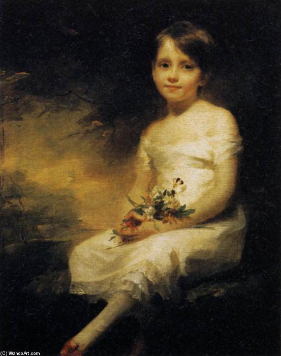 Young Girl Holding Flowers, 1798 by Henry Raeburn (1756-1823, United Kingdom) | Famous Paintings Reproductions | WahooArt.com