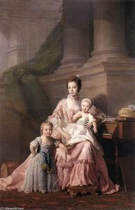 Allan Ramsay - Queen Charlotte with her Two Children