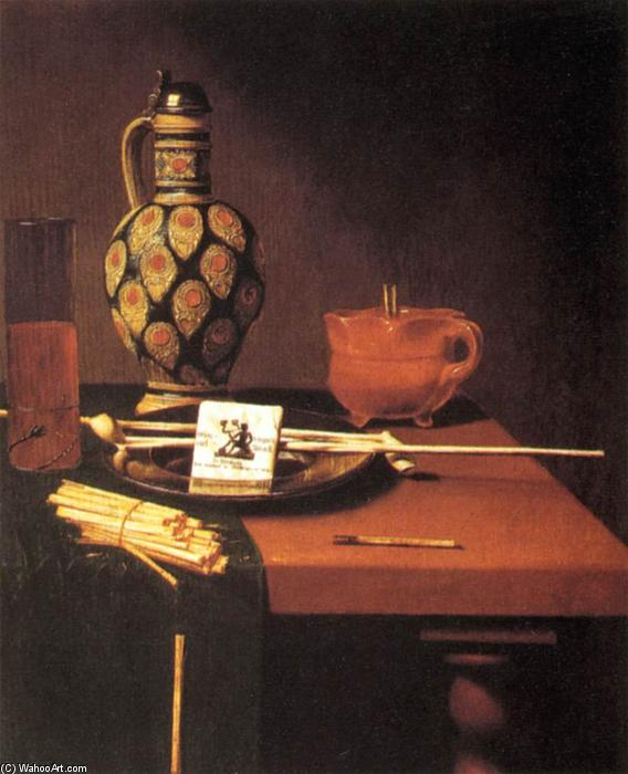 Still-Life with Porcelain Vase and Smoking Tools, Oil On Canvas by Hubert Van Ravesteyn (1640-1687, Netherlands)