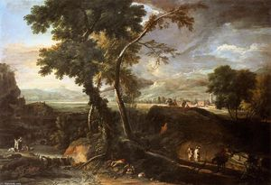 Marco Ricci - Landscape with River and Figures