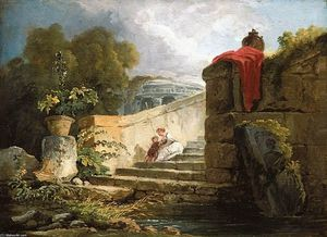 Hubert Robert - A Scene in the Grounds of the Villa Farnese, Rome
