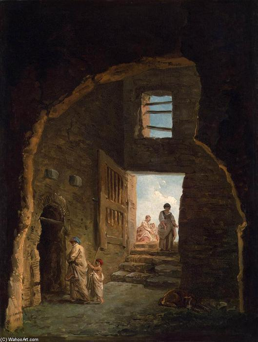 Inhabited Ruins, Oil On Canvas by Hubert Robert (1733-1808, France)