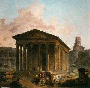 Hubert Robert - The Maison Carée, the Arenas and the Magne Tower in Nimes