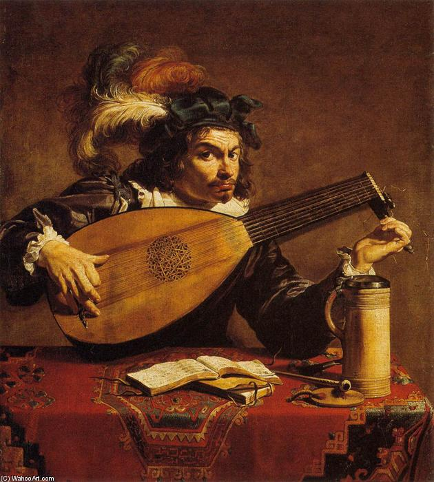 The Lute Player, Oil On Canvas by Theodor Rombouts (1597-1637, Belgium)