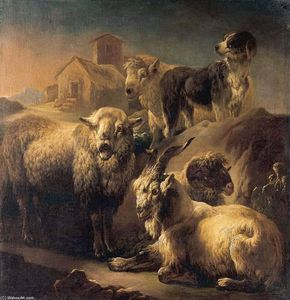 Philipp Peter Roos - A Goat, Sheep and a Dog Resting in a Landscape
