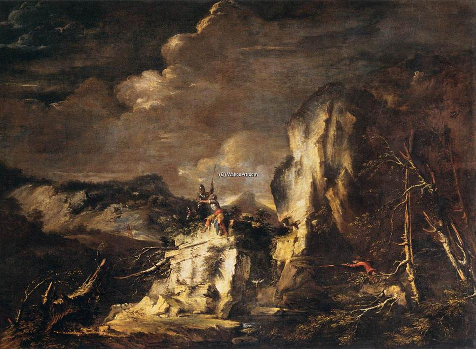 Rocky Landscape with a Huntsman and Warriors, 1670 by Salvator Rosa (1615-1673, Italy) | Famous Paintings Reproductions | WahooArt.com