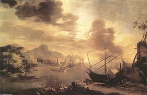 Salvator Rosa - View of the Gulf of Salerno