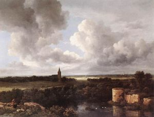 Jacob Isaakszoon Van Ruisdael (Ruysdael) - An Extensive Landscape with a Ruined Castle and a Village Church
