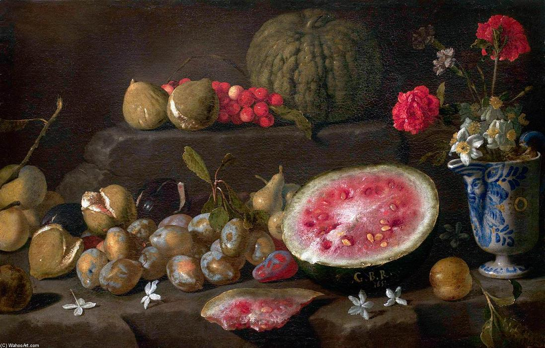 Still-Life with Fruit and a Vase of Flowers, Oil On Canvas by Giovanni Battista Ruoppolo (1629-1693, Italy)