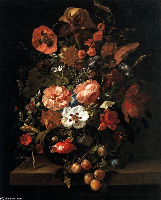 Bouquet in a Glass Vase, 1703 by Rachel Ruysch (1664-1750, Netherlands) | WahooArt.com
