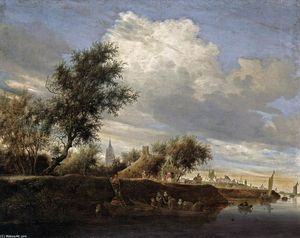 Salomon Van Ruysdael - Ferry near Gorinchem