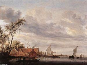 Salomon Van Ruysdael - River Scene with Farmstead