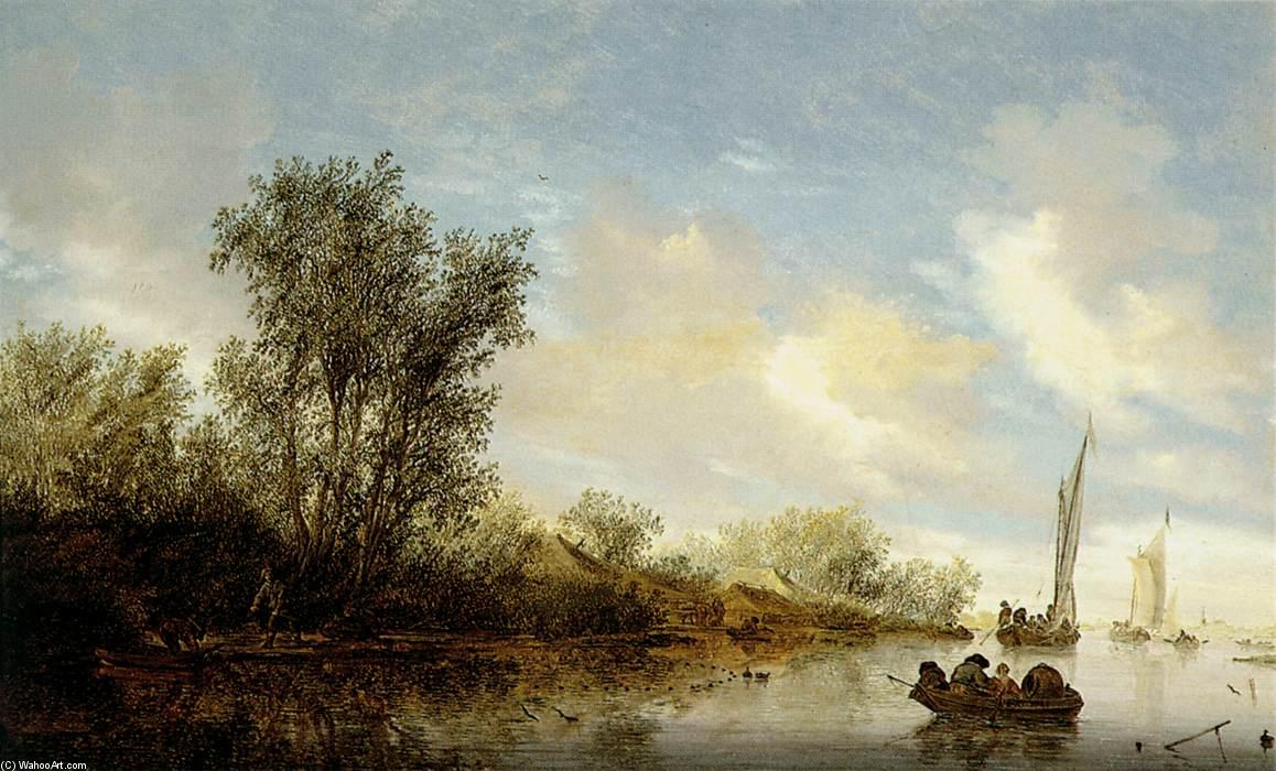 River with Fishermen, 1660 by Salomon Van Ruysdael (1602-1670, Netherlands) | Painting Copy | WahooArt.com