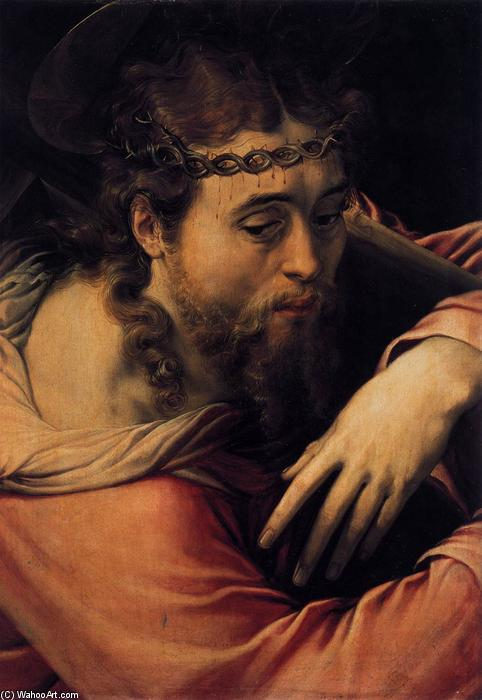 Christ Carrying the Cross, 1540 by Cecchino Del Salviati (1510-1563, Italy) | Oil Painting | WahooArt.com