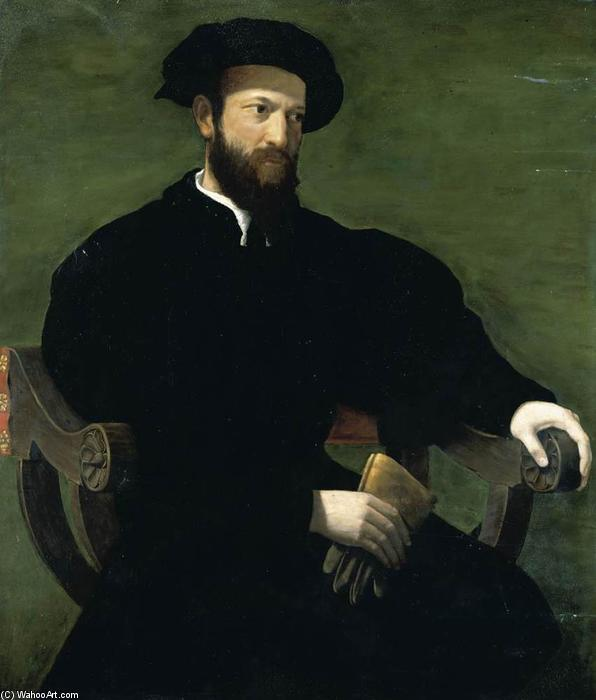 Portrait of a Gentleman, 1543 by Cecchino Del Salviati (1510-1563, Italy) | Oil Painting | WahooArt.com